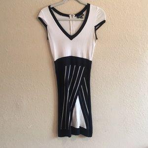 BB body con dress black and cream size Xs